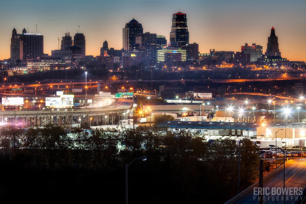 View of downtown Kansas City, Missouri skyline at sunrise, Saturday November 9, 2013 taken from 4th Street between Barnett & Sandusky Avenues, Strawberry Hill, Kansas City, Kansas.