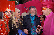 Andre Bartenev, Ulla Turner, the Marquess of Bath and Percy Savage Opening party, Zandra Rhodes Museum fashion and textiles. Bermondsey St. 8 May 2003. © Copyright Photograph by Dafydd Jones 66 Stockwell Park Rd. London SW9 0DA Tel 020 7733 0108 www.dafjones.com
