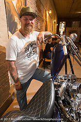 Bill Dodge of Bling's Cycles at the In Motion invitational bike show at the Lone Star Rally. Galveston, TX. USA. Friday November 3, 2017. Photography ©2017 Michael Lichter.