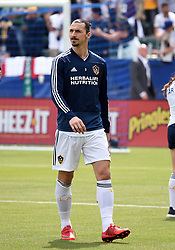 March 31, 2018 - Carson, CA, U.S. - CARSON, CA - MARCH 31: Zlatan Ibrahimovic (9) of the Los Angeles Galaxy enters the stadium during an MLS soccer match between Los Angeles FC and the Los Angles Galaxy on March 31, 2018 at StubHub Center in Carson, CA. (Photo by Chris Williams/Icon Sportswire) (Credit Image: © Chris Williams/Icon SMI via ZUMA Press)