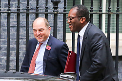 © Licensed to London News Pictures. 29/10/2019. London, UK. Secretary of State for Defence BEN WALLACE (L) and Minister of State for Business, Energy and Clean Growth KWASI KWARTENG (R) arrives in Downing Street to attend the weekly cabinet meeting. Photo credit: Dinendra Haria/LNP
