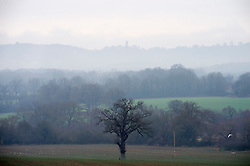 © Licensed to London News Pictures. 26/12/2018. Chiddingstone, UK. Boxing day misty weather. A view across the Kent countryside from Chiddingstone. Photo credit: Grant Falvey/LNP