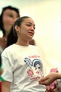 Parade participant age 15 at Cinco de Mayo festival.  St Paul Minnesota USA