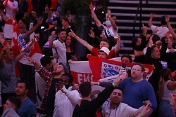 © Licensed to London News Pictures. 22/06/2021. London, UK. England fans react to the EURO 2020 Czech Republic V England football match seen on a large screen at Boxpark Croydon in south London. Photo credit: Peter Macdiarmid/LNP