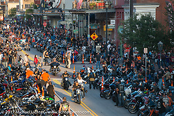 The Strand packed with motorcycles during the Lone Star Rally. Galveston, TX. USA. Friday November 3, 2017. Photography ©2017 Michael Lichter.