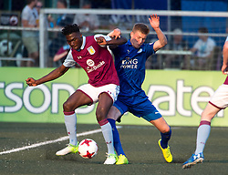 May 28, 2017 - Hong Kong, Hong Kong SAR, China - Aston Villa's Corey Taylor keeps the ball clear of Leiceister City's Josh Knight (R) Leicester City win their second HKFC Citi Soccer Sevens title following a 3-0 victory over defending champions Aston Villa in the final.2017 Hong Kong Soccer Sevens at the Hong Kong Football Club Causeway Bay. (Credit Image: © Jayne Russell via ZUMA Wire)