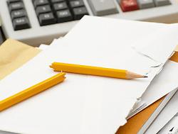 Dec. 14, 2012 - Calculator paper and broken pencil (Credit Image: © Image Source/ZUMAPRESS.com)