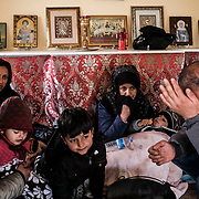 MARASIA, GREECE - FEBRUARY 29: Afghan migrants who crossed into the Greece from the Turkish border hunker down in a small Greek Orthodox chapel on Saturday, February 29, 2020. Turkey said it would no longer stop refugees from reaching Europe a day after the country suffered heavy losses during an attack in Syria. (Photo by Byron Smith/Getty Images)