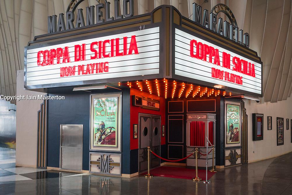 Cinema showing Ferrari movies at Ferrari World in Abu Dhabi United Arab Emirates