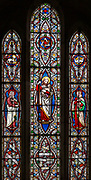 Stained glass window Idmiston church, Wiltshire, 1867 by Ward and, HughesSaint Paul, Good Shepherd, Saint John