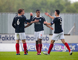 Falkirk's Lyle Taylor celebrates after scoring their third goal with Falkirk's Jay Fulton Falkirk's Jonny Flynn..Falkirk 3 v 0 Stirling Albion, Ramsdens Cup..© Michael Schofield.