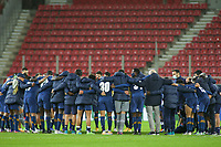 PIRAEUS, GREECE - DECEMBER 09: Players of FC Porto after the UEFA Champions League Group C stage match between Olympiacos FC and FC Porto at Karaiskakis Stadium on December 9, 2020 in Piraeus, Greece. (Photo by MB Media)