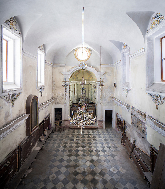 PALERMO, ITALY - 22 MARCH 2017: The former Baroque oratory known as Santa Maria del Sabato, or Holy Mary of Saturday, that will soon become Palermo's first synagogue in 500 years, is seen here in the Giudecca, the ancient Jewish quarter of Palermo, Italy, on March 22nd 2017.<br /> <br /> In 1492, Sicily's Jews were banished from the island, the victims of a Spanish edict that forced thousands to leave and others to convert to Roman Catholicism. On Jan. 12, exactly 524 years to the day that the edict gave as a deadline for Sicily's Jews to depart, Palermo's archbishop, Corrado Lorefice, granted the emerging community the use of a deconsacrated oratory, to be transformed into Palermo's first stable synagogue in five centuries.  The synagogue will be located in what once was known as the Giudecca, Palermo's ancient Jewish quarter
