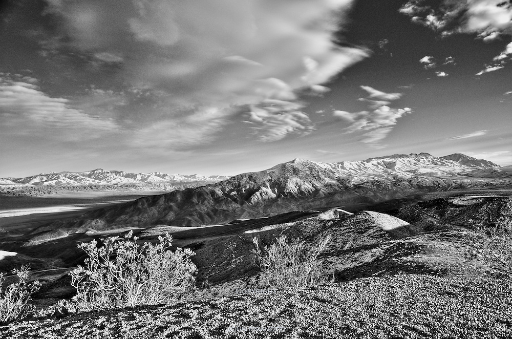 The Argus Range and the Panamint Range (in the distance on the left) as seen from near the Father Crowley Monument, winter day.  Death Valley National Park