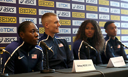 USA's (left-right) Brittney Reese, Sam Kendricks, Sharika Nelvis and Donavan Brazier during a press conference on day one of the 2018 IAAF Indoor World Championships at The Arena Birmingham, Birmingham.