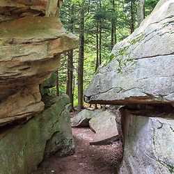 Benton, PA, USA - June 15, 2013: Rock formations in Pennsylvania's Ricketts Glen State Park.