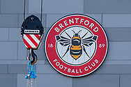 General stadium view outside the Brentford Community Stadium (crane in view) before the EFL Sky Bet Championship match between Brentford and Middlesbrough at Brentford Community Stadium, Brentford, England on 7 November 2020.