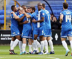 Peterborough United's Tyrone Barnett celebrates with team mates - Photo mandatory by-line: Joe Dent/JMP - Tel: Mobile: 07966 386802 05/10/2013 - SPORT - FOOTBALL - London Road Stadium - Peterborough - Peterborough United V Preston North End - Sky Bet League 1