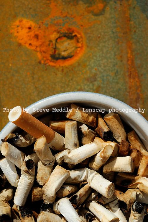 Cigarette Ends in Ashtray