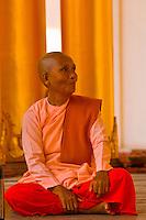 Buddhist nun, Shwedagon Pagoda, Yangon (Rangoon), Myanmar (Burma)