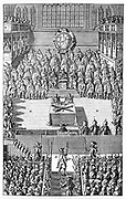 Trial of Charles I, January 1649. Charles I (1600-1649), king of Great Britain and Ireland from 1625, on trial by Parliament in Westminster Hall, London. Charles, as an absolute monarch, did not accept the authority of the court and his refusal to plead was construed as a ple of guilty.