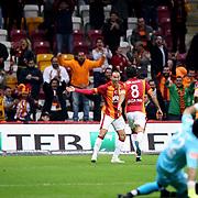 Galatasaray's Umut Bulut celebrate his goal during their Turkish Super League soccer match Galatasaray between Kayseri Erciyesspor at the AliSamiYen Spor Kompleksi TT Arena at Seyrantepe in Istanbul Turkey on Friday, 27 February 2015. Photo by Batuhan AKICI/TURKPIX