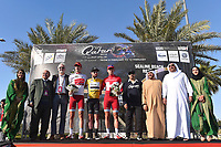 Podium, KRISTOFF Alexander (NOR), CAVENDISH Mark (GBR) Gold Yellow Leader Jersey, BYSTROM Sven Erik (NOR) White Young Jersey, Sheikh Khalid Bin Ali Al Thani (Qat) President Qatar Cycling Federation, Brian COOKSON (Gbr) UCI President, during the 15th Tour of Qatar 2016, Stage 2, Qatar University - Qatar University (145,5Km), Test Event Doha Road World Championships 2016, on February 9, 2016 - Photo Tim de Waele / DPPI
