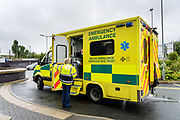During the pandemic, in order to try and reduce viral spread between Covid / no-Covid staff & patients, Triage Nurses were asked to act almost as security at the hospital entrances. They would have to question the ambulance staff about the patients they were carrying. Covid suspected patients then had to be taken through the 'red' entrance, whilst other patients were separated into other entrances.<br /> <br /> From my exhibition series for  Betsi Cadwaladr via the Betsi Research Unit.<br /> <br /> My brief was not frontline action as seen on all news outlets, but the way hospitals & staff have adapted to cope with the crisis, from PPE to social distancing & also those vital behind the frontline workers essential throughout the crisis to support frontline NHS staff.<br />  <br /> A small touring exhibition will be open to the public when safer times permit.