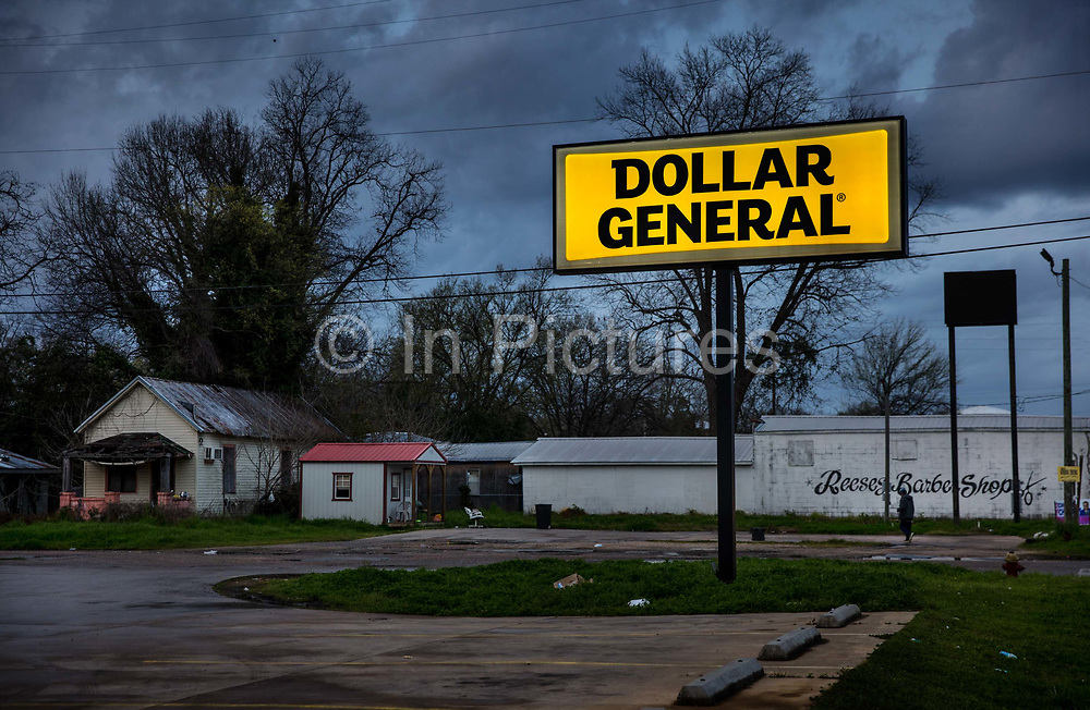 Dollar General Store, main street, on 3rd March 2020 in Selma, Alabama, United States. Selma is the main town of Dallas County which has one of the highest rates of poverty in Alabama and one of the most economically depressed towns in America. It was known as the Queen of the Black Belt for its rich soil that proved ideal for highly profitable cotton growing and extended the years of slave labour after the slave trade had been outlawed. Now it struggles with joblessness, drugs and disenfranchisement.