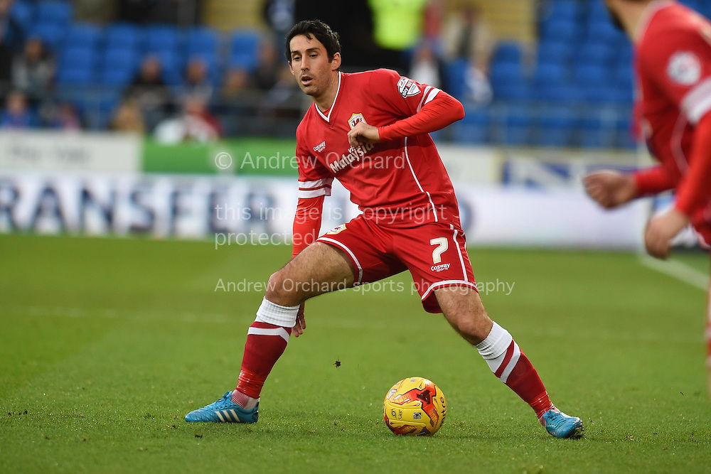 Peter Whittingham of Cardiff city in action. Skybet football league championship match, Cardiff city v Watford at the Cardiff city stadium in Cardiff, South Wales on Sunday 28th December 2014<br /> pic by Andrew Orchard, Andrew Orchard sports photography.