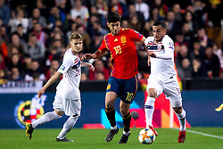 Spain's Marco Asensio, Norway's Martin Odegaard and during the qualifying match for Euro 2020 on 23th March, 2019 in Valencia, Spain. Photo by Alconada/AlterPhotos/ABACAPRESS.COM