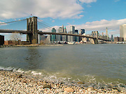 Panoramic view of the Brooklyn Bridge and downtown Manhattan.