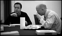 David Cameron holds talks with his team as talks with the Liberal Democrats on forming a coalition government continue late into Sunday evening, Sunday May 9, 2010. Photo By Andrew Parsons / i-Images.