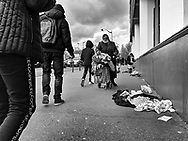 Paris porte de Montreuil. les Puces market. street sellers Paris during Covid 19 pandemic. pedestrians with covid mask