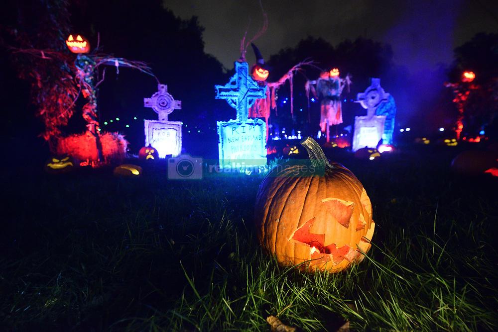 October 5, 2018 - Philadelphia, Pennsylvania, United States - Large illuminated jack-o'-lantern display made of pumpkins, in Philadelphia, PA, on October 5, 2018. Visitors enjoy popular themes on display, carved out of five-thousand illuminated pumpkins. (Credit Image: © Bastiaan Slabbers/NurPhoto/ZUMA Press)