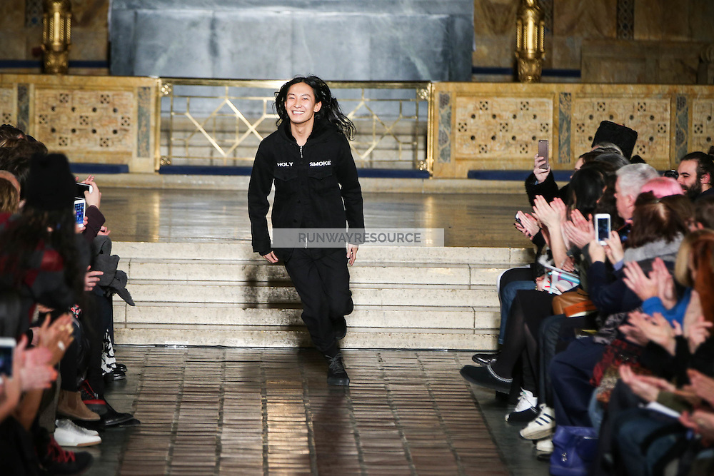 Alexander Wang Greets the audience after presenting the Fall 2016 collection during New York Fashion Week on February 13, 2016