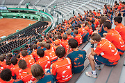 Roland Garros. Paris, France. June 1st 2012.A day with the ball boys..9:30 AM, on court number 1, morning general briefing where teams and assigned courts are announced.