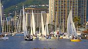 Sailboat race, Ala Wai, Harbor, Magic Island, Ala Moana Beach Park, Waikiki, Honolulu, Oahu, Hawaii
