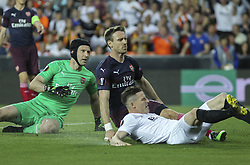 May 9, 2019 - Valencia, Valencia, Spain - Cech of Arsenal and Gameiro of Valencia in action during UEFA Europa League football match, between Valencia and Arsenal, May 09th, in Mestalla stadium in Valencia, Spain. (Credit Image: © AFP7 via ZUMA Wire)