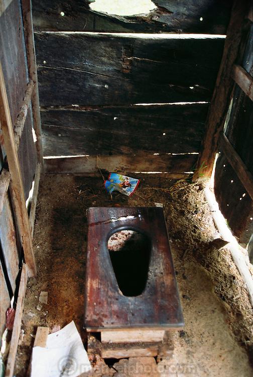 Santos' home outhouse on the Orinoco River in the Canyon de Tamatama, Venezuela.