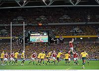22 June 2013; Jamie Heaslip, British & Irish Lions, rises to claim possession in a lineout. British & Irish Lions Tour 2013, 1st Test, Australia v British & Irish Lions, Suncorp Stadium, Brisbane, Queensland, Australia. Picture credit: Stephen McCarthy / SPORTSFILE