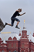 Moscow, Russia, 16/07/2006..Urban extreme sports enthusiasts on Manezh Square next to the Kremlin and Red Square.