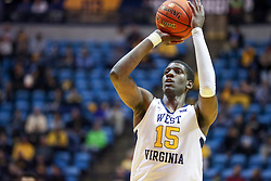 Nov 28, 2018; Morgantown, WV, USA; West Virginia Mountaineers forward Lamont West (15) shoots a foul shot during the second half against the Rider Broncs at WVU Coliseum. Mandatory Credit: Ben Queen-USA TODAY Sports