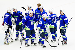 Gasper Kroselj of Slovenia and other players of Slovenia after the Ice Hockey match between Finland and Slovenia at Day 7 in Group B of 2015 IIHF World Championship, on May 7, 2015 in CEZ Arena, Ostrava, Czech Republic. Photo by Vid Ponikvar / Sportida