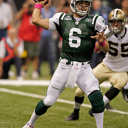 2009 October 04: New York Jets quarterback Mark Sanchez (6) throws a pass during the first half of a week four regular season game between the New Orleans Saints and the New York Jets at the Louisiana Superdome in New Orleans, Louisiana.