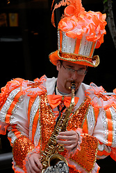Mummers entertainers, mod rel..Philadelphia, Pennsylvania, PA USA.  Photo copyright Lee Foster, 510-549-2202, lee@fostertravel.com, www.fostertravel.com. Photo 301-30872