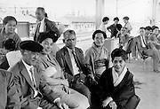 people waiting on train station platform Japan 1960s