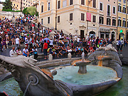 View of the Piazza di Spagna located at the bottom of the Spanish Steps. Rome. Italy 2013