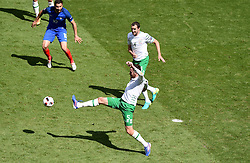 Richard Keogh of Republic of Ireland clears the ball  - Mandatory by-line: Joe Meredith/JMP - 26/06/2016 - FOOTBALL - Stade de Lyon - Lyon, France - France v Republic of Ireland - UEFA European Championship Round of 16