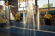 Employees of the Feather River Fish Hatchery wait for a holding tank to be filled with fish before beginning salmon spawning operations.  Due to the decline in fish stocks, hatcheries do natures work by killing, harvesting and incubating eggs until the fish are hatched and large enough to be released to the wild.  Studies have shown significant biological and behavioral differences between wild fish and hatchery fish.